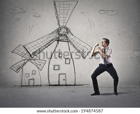 against the mills - stock photo