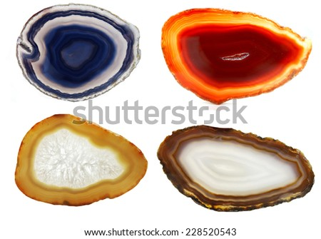 agate chalcedony semigem geode crystals geological mineral isolated  - stock photo
