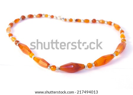 Agate Necklace and  Bracelet Isolated On White Background. - stock photo