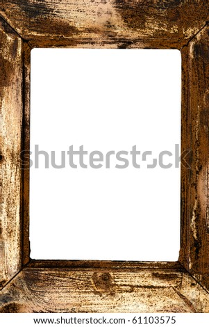 Aged and isolated wooden frame with blank background - stock photo