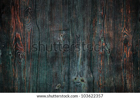 Aged and weathered green timber door - stock photo