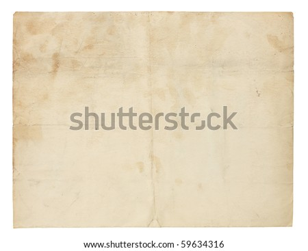 Aged and worn paper with creases, stains and smudges. Includes clipping path. - stock photo