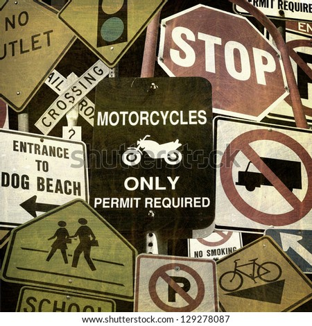 aged and worn vintage grunge street sign collection - stock photo