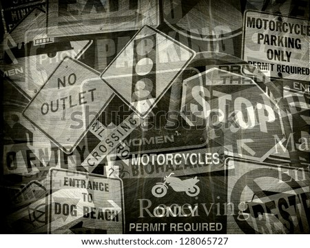 aged and worn vintage photo of a collection of signs - stock photo