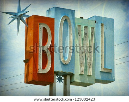 aged and worn vintage photo of bowl sign - stock photo