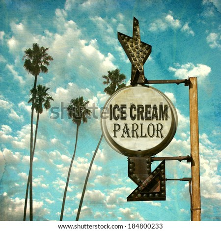 aged and worn vintage photo of retro ice cream parlor sign - stock photo