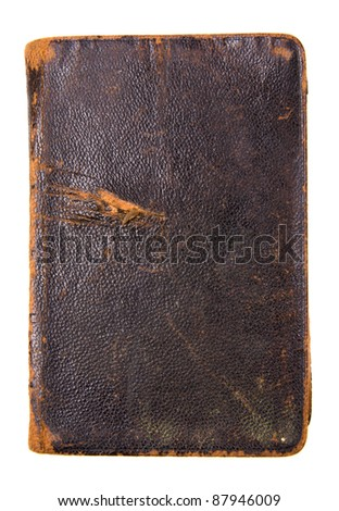 Aged antique brown book on white background - stock photo