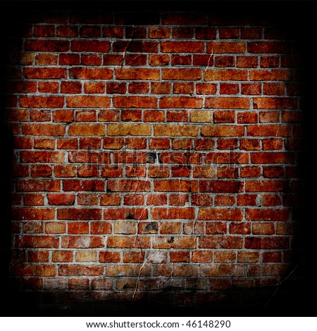 Aged brick wall texture with border - stock photo