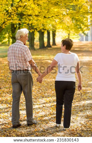 Aged couple in love walking in park in autumn afternoon - stock photo