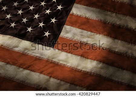 Aged flag of United States. Old American banner. Together we are strong. Country, nation and pride. - stock photo
