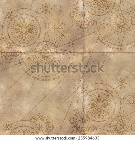 aged folded paper background, vintage steam punk star ornament - stock photo
