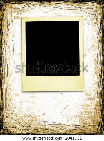 Aged instant photo On Grunge Background With Copyspace (+clipping path for easy framing your picture) - stock photo