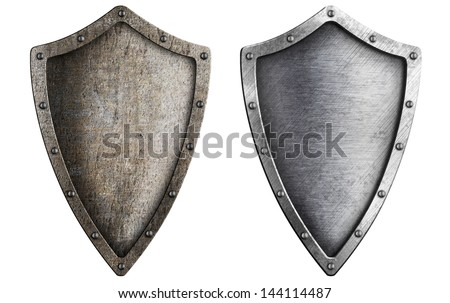 aged metal shield set isolated on white - stock photo