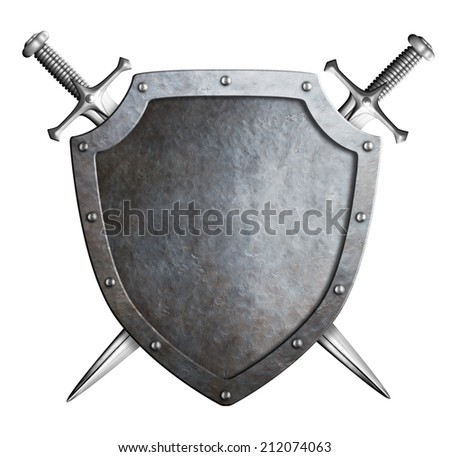 aged metal shield with crossed swords isolated on white - stock photo