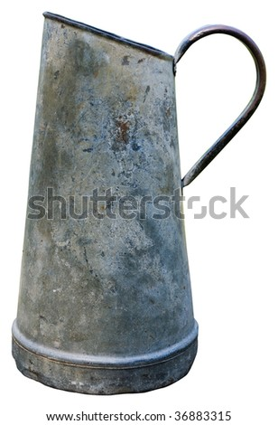 Aged metallic watering can isolated on white background. Clipping path included to replace background. - stock photo