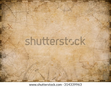 aged nautical treasure map illustration background - stock photo