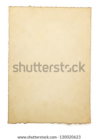 aged paper isolated on white background - stock photo