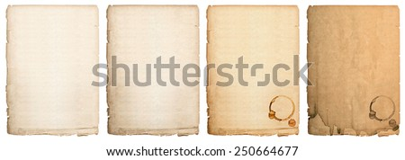 aged paper sheet isolated on white background. used book page with coffee stains - stock photo