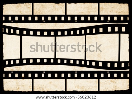 Aged paper texture with film strip - stock photo