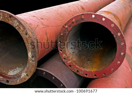 Aged rusty grunge industrial pipes close up. - stock photo