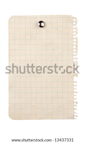 Aged sheet of paper pinned with a thumbtack - stock photo