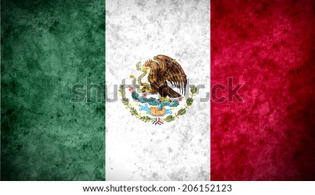 Aged textured and colorful flag of Mexico - stock photo