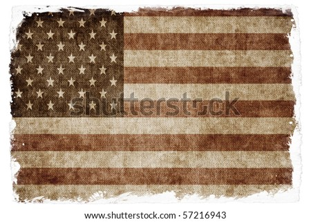 Aged USA flag - stock photo