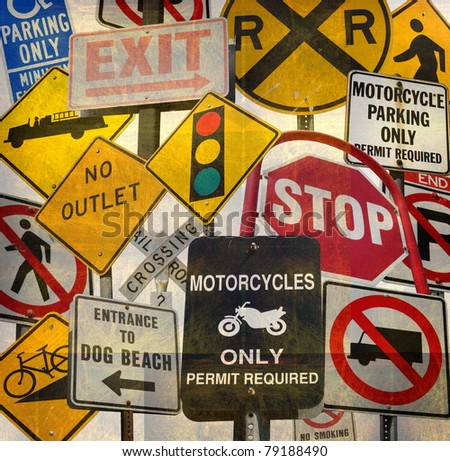 aged vintage collage with traffic signs - stock photo