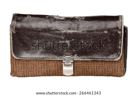 Aged wallet isolated on white background. With clipping path - stock photo