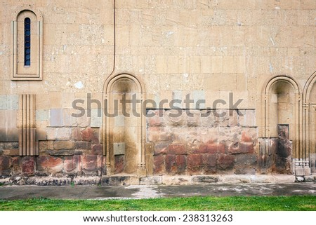 Aged weathered beige wall background  - stock photo