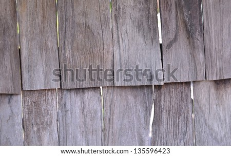 Aged Wooden Shingle Background with Copy space - stock photo