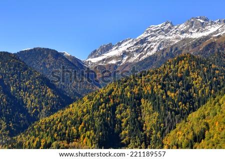 Agepsta mountain, Abkhazia, autumn landscape - stock photo