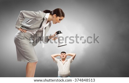 Aggression and humiliation in communication - stock photo