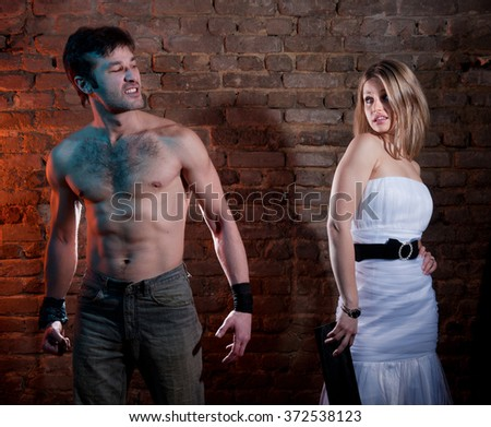 Aggression in the family.Family fights.Family hatred.Heavy men and women. - stock photo
