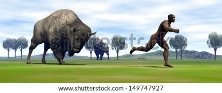 Aggressive bison charging Homo Erectus man running out to escape - stock photo
