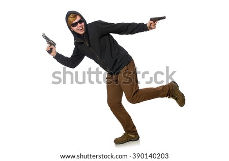 Aggressive man with gun isolated on white - stock photo