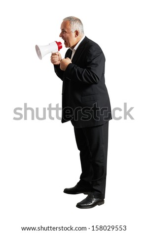 aggressive man with megaphone. isolated on white background - stock photo