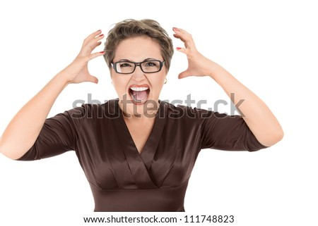 Aggressive screaming businesswoman isolated on white background - stock photo