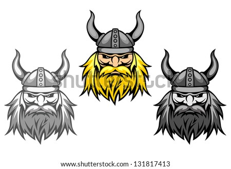 Aggressive viking warriors for mascot or tattoo design. Vector version also available in gallery - stock photo