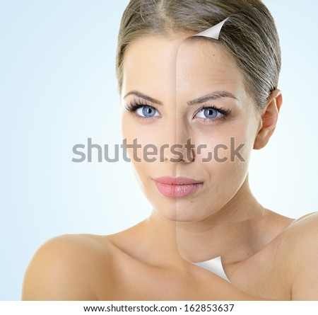 Aging and youth concept, beauty treatment, portrait of beautiful woman with problem and clean skin - stock photo