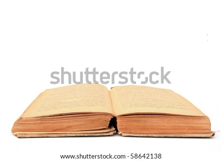 aging book on white background - stock photo
