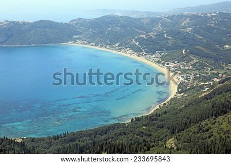 Agios Stephanos, Corfu Island. Greece. View from above. - stock photo