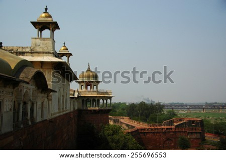 Agra fort, World Heritage site located in Agra - stock photo