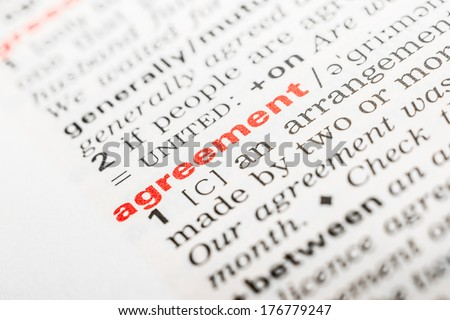 Agreement Word Definition In Dictionary - stock photo