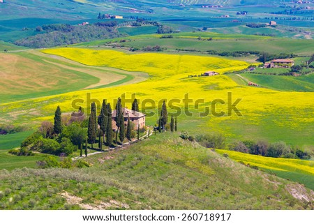Agricultural countryside of Tuscany, Italy - stock photo