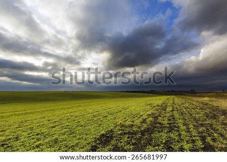 Agricultural field at the windy winter evening - stock photo