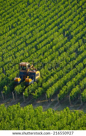 Agricultural machine in the vineyards-Landscape-Vineyard south west of France, Bordeaux Vineyard - stock photo