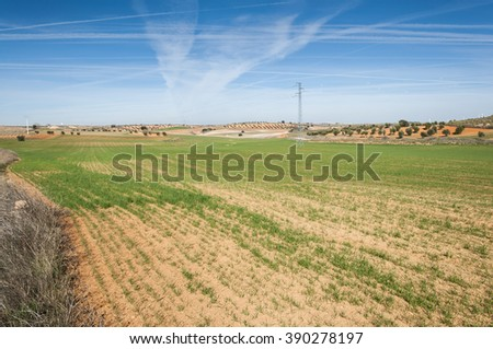 Agricultural mosaic landscape in Toledo Province, Spain - stock photo