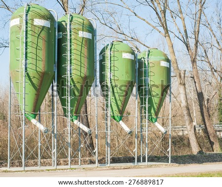 agricultural silos for the storage of feed - stock photo