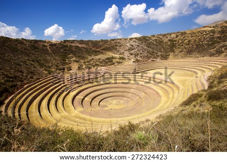 agricultural terraces at Moray, Cusco, Peru - stock photo
